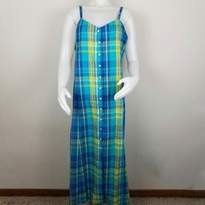 Talbots Blue & Yellow Button Down Tank Dress Sz 18